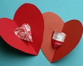 Two red heart pop up cards, Valentines, pink and red, hearts, I love you, lace