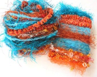 MARINER'S SUNSET Specialty Yarn Fiber Embellishment Bundle - Altered Arts, Jewelry, etc - 5 or more bundles for 10% discount
