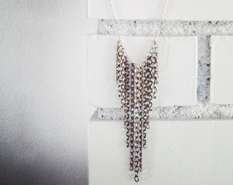 Mixed Metals Long Chain Layering Necklace- Unchained- Waterfall Chain Necklace, Collar Necklace
