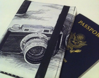 Travel Wallet, Passport Wallet, Passport Cover,Black and White Camera Print with Elastic Closure