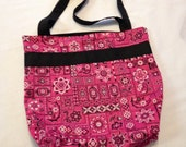 SALE - Medium Tote Bag - Pink and Black - Reversible