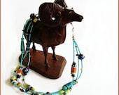 Southwestern Triple Strand Beaded Necklace - Vivid Desert and Sky Colors