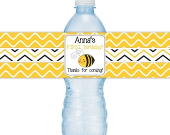 Custom Birthday Water Bottle Labels, Bee Birthday Water Bottle Labels, Bumble Bee Water Bottle Labels, Fit on 16.9 oz water bottles