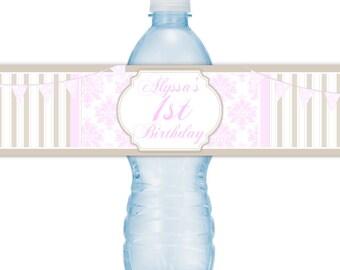 Custom 1st Birthday Water Bottle Labels, Stripes and Damask Water Bottle Labels, First Birthday Water Bottle Labels, Fit on 16.9 oz bottles