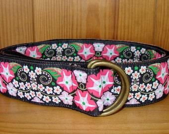 Black and Pink Morning Glory Flowered Belt