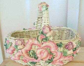 Vintage Small Pink White Wicker Basket with Barbola Gesso Roses Swags Flowers Shabby Chic