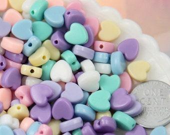 Plastic Heart Beads - 8mm Tiny Plastic Pastel Heart Resin or Acrylic Beads - 200 pc set