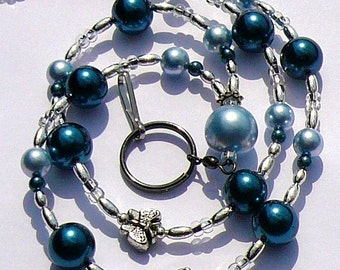 Blue Pearls Lanyard , Beaded Id Badge Holder, Id Necklace