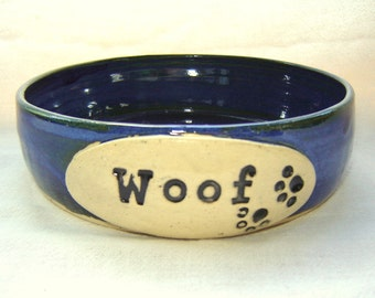 Dog Bowl Pet Dish in Stoneware Pottery Woof and Paw Prints Safe For Food and Water