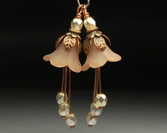 Vintage Style Bead Dangles Light Brown Lucite Flowers Pair BR404