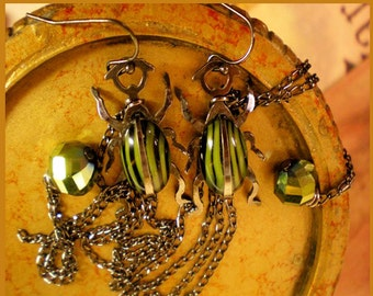 Vintage scarab earrings HE tried to get away Aesthetic creatures SIGNED