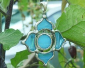 Sky Blue Glass Lotus Necklace