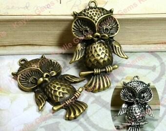 Cute Baby Owl Hoot Charm Pendant Antique Brass Antique Silver 42mm - 2pcs