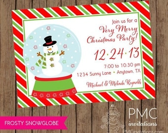 Snow Globe Snowman Holiday Christmas Invitation - 1.00 each with envelope