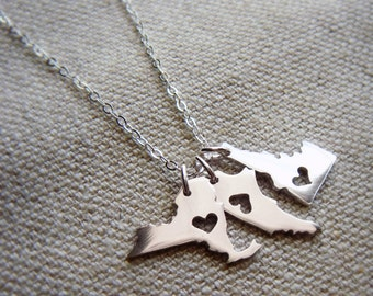 Triple Micro Size State or Country Pendants in Sterling Silver or Copper Made to Order Personalize the Location of the Heart