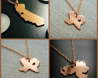 Copper State or Country Pendant - Personalize the Location of the Heart Over the City of Your Choice