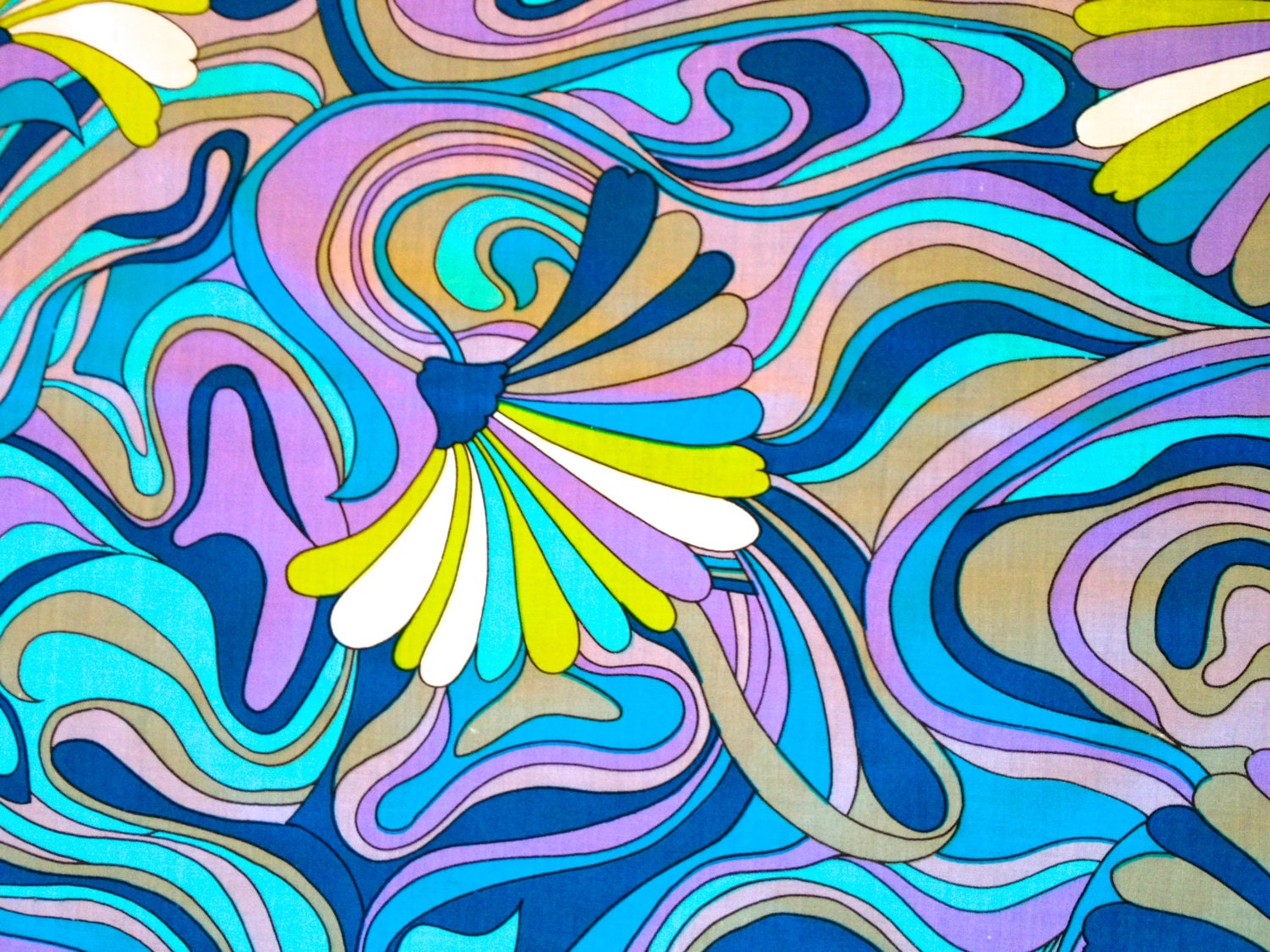 Mod Peter Max Inspired Psychedelic 60s Abstract Fabric// Mid  Peter Max 60s