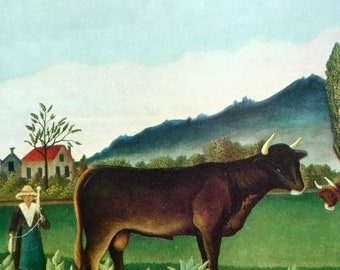 Vintage 50s print of Landscape With Cattle by Henri Rousseau rustic folk painting farm pasture mountains with cows and yarn spinning lady