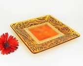 Hand painted glass plate - Amber theme  - Florina collection