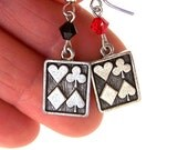 Pewter playing card earrings, playing card charms with Swarovski crystal elements