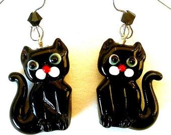 Black cat earrings, lampwork glass, gift for cat lover, rescue worker or veterinarian