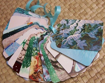 Upcycled Holiday Gift Tags - Snowy Trees