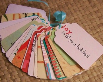 Upcycled Holiday Gift Tags - Holiday Sentiments
