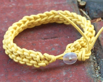 Handmade Knitted Leather Bracelet - Canary Leather, Vintage Button Clasp