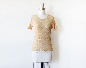 foral lace top, vintage 90s floral lace blouse, beige small flower lace shirt