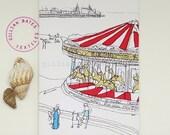 The Carousel - Handmade Postcard by gillian bates