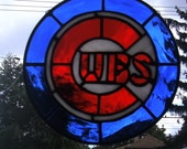 CUSTOM for EVE...Chicago Cubs Stained Glass Suncatcher Panel...Made to Order
