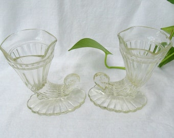 Pair of Jeannette Glass Cornucopia Vases