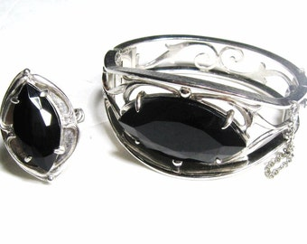 Whiting Davis Bracelet & Ring Set Vintage, Signed Hinged Cuff Bangle + Cocktail Ring Black Marquise Solitaire Silver Tone Filigree 60's 70's