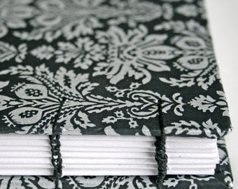 Black and Silver floral tapestry Handmade Book ready to ship
