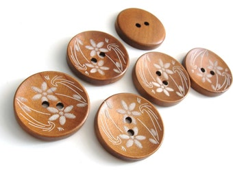 Wood button white flowers pattern 30mm 6pcs (BB120D)
