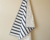 Classic Modern Striped Baby Quilt in Navy