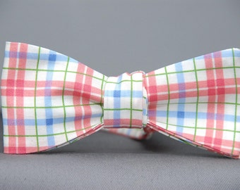 Enlightened Pinks, Greens and Blues Plaid  Bow Tie