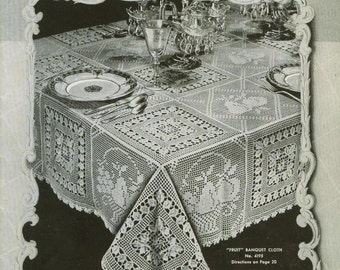 Vintage Crochet Lace Motif Patterns 1930s Heirloom Bedspread Banquet Cloth Tablecloths Runners Scarfs Chair Sets Pillows Bucilla Volume 119