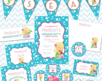 Mermaid Party Printables Instant Download - The Madison Collection