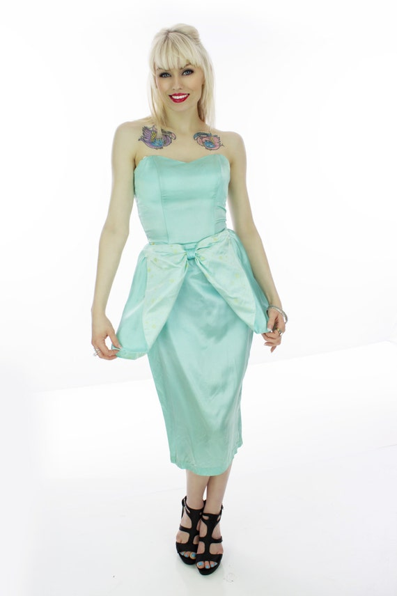 peplum blue prom dress 80s