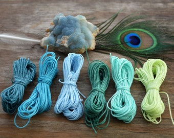 Blue Lagoon Mix: Waxed Polyester Cord, 1mm, 6 packs of 25ft per color / Hilo Encerado, Waxed Poly, Macrame Thread / Jewelry Supplies