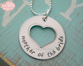 READY TO SHIP --- Mother of The Bride Personalized Hand Stamped Heart Cutout Necklace