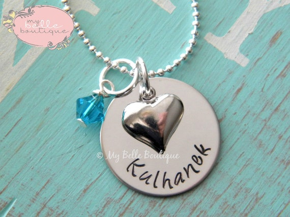 Personalized Hand Stamped Name Necklace with Swarovski Birthstone and Silver Heart Charm