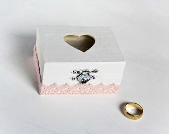 Customized Wedding Ring Bearer Box, Pillow Alternative, Shabby Chic Rustic Eco