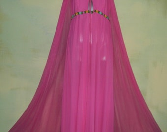 M L 60s Intime Goddess Gown Peignoir Hollywood Hot Pink Double Chiffon Nylon Negligee Mad Men In Time Night Gown