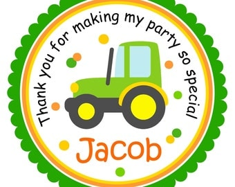 Tractor Stickers, Personalized Labels, Tractor  Favor Stickers or Gift Tags - set of 12