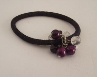 Beaded Pony Os Various dark Purple toned  Ponytail Hair Jewelry