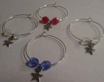 Star Wine Charms Set of 4
