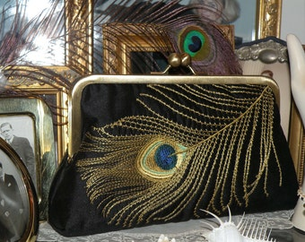 Peacock Feather Embroidered Silk Clutch/Purse/Bag..Long Island Bride/Wedding/Bridal Party/Holiday Gift Black..Taupe lining..Free Monogram