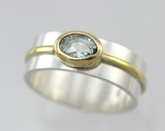 1 Stone Oval Wrap Ring 14K (Aquamarine) (Made to Order)